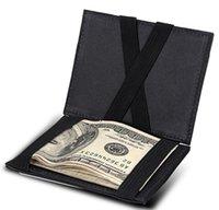 dólares comerciales al por mayor-Billetera de cuero genuino para hombre Bifold Billetera de comercio de cuero paquete de tarjeta de billetera de los hombres US dólar clip creativo bolsa mágica