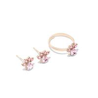 Wholesale cubic zirconia wedding rings online - Ring Earrings Ttwo piece Pink Wedding Pparty Ring Earrings Cute Kitten Paw Shape Trend Fashion Decorations Best Gift