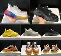 Wholesale black pu men s boots resale online - 2019 new Designer fashion Triple S Casual Shoes Men Green Triple S Sneaker Women Leather Low Top Lace Up Flat Shoes Clear Sole With Dust bag