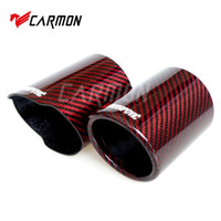 Wholesale fiber pipes resale online - Akrapovic Car Universal Exhaust Pipe Red and Twill Carbon Fiber Cover Exhaust Muffler Pipe Tip case Tip housing