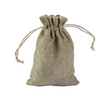 Wholesale gift bags 15cm for sale - Group buy 10 cm Double layer high quanlity Natural Linen drawstring bags Jewelry Pouch Gift hessian Wedding favor bags Jute bags burlap package
