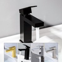altın kaplama musluklar toptan satış-Siyah Tezgah altı banyo musluk kaliteli pirinç sıcak ve soğuk mikser kare tasarım havzası su musluğu Krom Fırçalı Gold kaplamalı