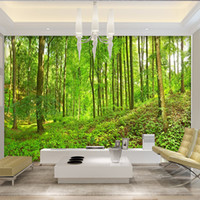 Wholesale plants tree painting resale online - Custom Photo Wallpaper Green Big Tree Forest Nature Landscape Large Murals Wallpaper Wall Painting Modern Murales