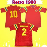 les antiquités achat en gros de-# 10 Valderrama # 9 Guerrero Colombie 1990 Rétro classique de maillot de football rouge commémore la collection antique maillot de football Vintage