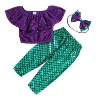 glänzende sommerkleidung groihandel-Vieeoease Mädchen Sets Bling Kinder Kleidung 2019 Sommer Shiny Ruffle T + Hose + Stirnband Kinder Outfits 3 Stück