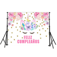 Wholesale photography wall backdrops for sale - Unicorn Happy Birthday Photography Backdrops Photo Background Party Wall Decoration Pink Flower Stars Backdrop x5ft Customize