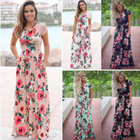 Wholesale maternity gowns resale online - Women Floral Dresses Styles Print Short Sleeve Boho Dress Evening Gown Party Long Maxi Dress Summer Sundress Maternity Dress OOA3238