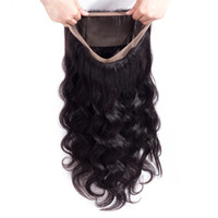 Wholesale processed human hair resale online - 9A Brazilian Hair Body Wave Closure Lace Frontal Free Part Remy Human Hair Closure With Baby Hair Natural Color