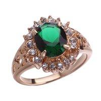 цветок сапфир кольца оптовых-Горячий стиль цветочных орнаментов европейской и американской моды циркон браслет обручальное кольцо принцесса сапфировое кольцо