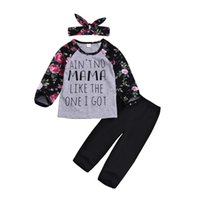 Wholesale baby girl winter clothing boutiques for sale - Group buy Floral kids Baby Girls Letter Print Clothing T shirt Pants Headband piece set Outfit Long Sleeve Kids Clothes Boutique