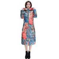 Donna Inverno Abiti in cotone stile nazionale cinese Fiore stampato lungo  Cappotti Donna Vintage Parka con cappuccio Plus Size 4XL V364 b467faa88de