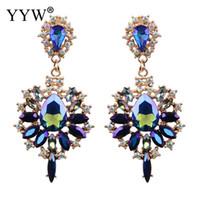 серьги старинные синие горный хрусталь оптовых-European Vintage Style  Crystal Drop Earrings New Year Gift Blue Crystal Rhinestone Fashion Jewelry Woman Dangle Earrings
