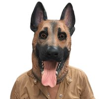 ingrosso maschera per il viso del cane adulto-Dog Head Latex Full Face Adulto Traspirante Halloween Masquerade Fancy Dress Party Cosplay Costume Lovely Animal Mask Q190524