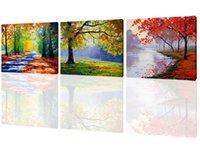 panel de lona de bosque al por mayor-3 Paneles de Otoño Arces Bosque Imagen Impresiones en Lienzo Arte de la Pared Pinturas Obras de Arte Para la Sala de estar Moderna Casa Decoración