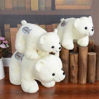 белые медведи куклы оптовых-Енот плюшевые игрушки куклы Белый медведь чучела животных кукла маленький белый медведь подарок на день рождения Оптовая бесплатная доставка