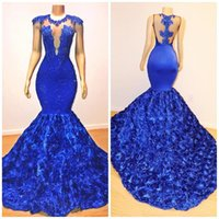 mavi şapel toptan satış-Kraliyet Mavi Mermaid Gelinlik Modelleri 2019 Gül Çiçek Uzun Şapel Tren Sheer Boyun Boncuk 2K19 Uygulanır Afrika Pageant Elbise Abiye giyim BC1059