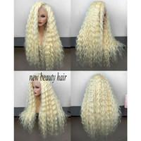 larga peluca rizada rubia natural al por mayor-Alta calidad al por mayor barato 613 Frontal pelucas llenas del pelo largo rizado platino rubio peluca delantera sintética del cordón para las mujeres blancas