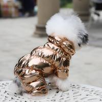 relleno de ropa para perros al por mayor-2019 trajes de lana de invierno cálido acolchadas Para los Mascotas lujo calentamiento chaqueta de la capa del chaleco del perrito de Ropas Espesar con capucha ropa para perros Bulldog peluche