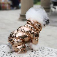 sıcak ped köpek toptan satış-Pet Köpek Kedi Lüks İçin 2019 Kış Sıcak yastıklı Polar Kostümler Cihazlar Yelek Yavru Kalınlaşmak Hoodie ceket ceket Köpek Giyim Bulldog Teddy Isınma