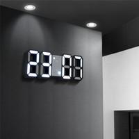 saat duvarı asılı toptan satış-3D LED Dijital Saat Erteleme Yatak Odası Masası Çalar Saatler Asılı Duvar Saati 12/24 Saat Takvim Termometre Ev Dekor hediye