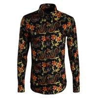 горячая китайская грудь оптовых-Горячие продажи Мужская повседневная рубашка Однобортный Печатный Цветочный Китайский Длинный мужской рубашка S - 3XL Мода Тонкий Camisa Masculino