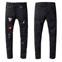 Wholesale jeans online - New Amiri Jeans Mens Distressed Ripped Biker Jeans Slim Fit Motorcycle Biker Denim Hip Hop Designer Pants Fashion Black Mens Jeans