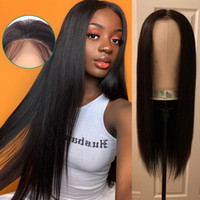 Wholesale braided human hair lace wigs for sale - Group buy Deep part x6 Straight Lace Front Wigs Pre Plucked Brazilian Remy Human Hair Lace Frontal Wigs density braid hairstyle