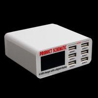 usb hub eu toptan satış-USB Hızlı Şarj 6A 6 USB 2.0 3.0 Portu Hızlı Şarj HUB Duvar Şarj Adaptörü LCD Ekran AB Tak