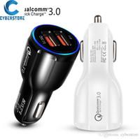 cargador de 12v android al por mayor-Teléfono celular de la tienda en línea del cargador del coche dual QC3.0 USB cargador rápido inteligente adaptador 12V 3.1A iPhone para Android Samsung Smartphones