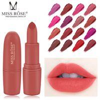 Wholesale wearing purple lipstick resale online - Miss Rose Matte Lipstick Easy To Wear Lipstick Sexy Colors Long lasting Lip Gloss Waterproof Nude Tint Velvet Makeup