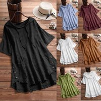 94bc6a85152 2019 Summer Plus Size Women Ladies Loose Cotton Linen Hoodies Short Sleeve  T-Shirt Plaid Check Shirt Tops Blouse on sale