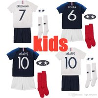 ed8ca5f7d best selling Maillot de Foot enfant 2018 cheap football kids 2 stars two  etoiles Equipe de france uniform french kits Jerseys+pant+socks