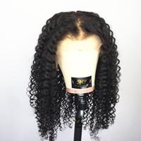 pelucas del cordón del pelo indio de alta calidad al por mayor-Peluca del frente del cordón del pelo humano, pelo rizado, indio rizado, peluca barata de alta calidad del pelo humano del precio
