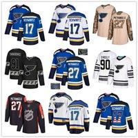 ingrosso usa hockey jersey blu-Personalizzato St. Louis Blues Jersey 99 Gretzky 17 Schwartz 27 Pietrangelo 11 Schenn 90 O'Reilly 57 Perron 91 Vladimir Tarasenko USA Flag hockey je