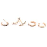 kadın kemik küpeler toptan satış-4 Adet / takım Kulak Damızlık Kristal Rhinestones Balık Kemik Küpe Kulak Klip Kadın kızın Moda Takı Hediye 2018
