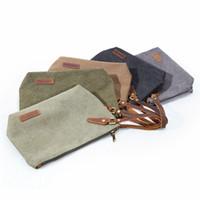 Wholesale solid color handbags resale online - Canvas Makeup Bag Solid Color Portable Cosmetic Bag Creative Storage Pouch Travel Wash Organizer Make Up Handbag HHA530