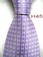 ingrosso legami color lavanda-Classico 100% JACQUARD WOVEN HANDMADE Mens Moda Bianco Carattere / Lavanda / Cielo blu / Viola / Colore rosso Uomo cravatta in seta Cravatta 4 colori
