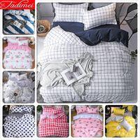 Wholesale purple rose bedspread for sale - Group buy White Blue Plaid Quilt Duvet Cover Bedding Set Adult Kids Soft Cotton Bed Linen Single Queen King Size Bedspread x240