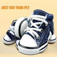 Wholesale extra packs online - 4Pcs in One Pack Cute Puppy Pet Dog Sporty Shoes Lace up Blue Canvas Dog Boots Nonslip Dog Booties Sneaker Teacup Chihuahua Yorkie