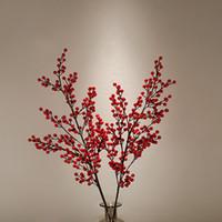 ingrosso bacche rosse artificiali-90 cm Bacche artificiali di bacche rosse Frutti di bosco Bacche Fiori artificiali Rami di ciliegio rossi Fiori Decorazioni natalizie per la casa Decorazioni per la tavola di nozze