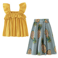 Wholesale yellow top kids clothing for sale - Group buy kids designer clothes girls outfits children ruffle vest Tops pineapple Skirts set Summer Boutique baby Clothing Sets colorsC6540