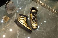 ingrosso stivali da donna in oro bianco-2019 Stivaletti da uomo sneaker in pelle di vitello, oro bianco nero Runner Sneakers Womens Designer 19ss Boot con scatola Taglia 35-45