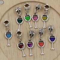 Wholesale diy for sale - 45pcs Enamel Wine Glass Goblet Drink Alloy Dangle Charms Bead fit European Bracelets x mm DIY Accessories