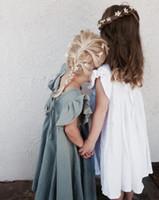 ingrosso abiti di lino per le ragazze-Ins Baby Girl Cotton Linen Ruffles Abiti Summer Kids Fashion Flutter Sleeveless Casual Dress Vestiti da bambina