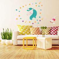 décor imprimé animal achat en gros de-45 * 60 cm Bébé Chambre Licorne Sticker Mural PVC Papier Peint Infant Fantaisie Animal Cartoon PVC impression home decor stickers de mur conception enfants