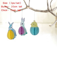 Wholesale pc honeycomb for sale - Easter Bunny Honeycomb Hanging Decorations Easter Honeycomb Balls Easter Shop Kindergarten Yard Hanging Decorations Set