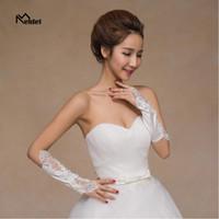 guantes blancos de verano al por mayor-Cordones sin dedos de la boda del cordón blanco del verano de 2019 cordón para los accesorios nupciales de la boda