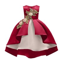 Wholesale high kids clothes for sale - Group buy Girls Hot Sale American Style High Quantity Flower Embroidered Princess Dress Childrens Sleeveless Dress For Performance Kids Clothing