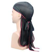 nouvelles perruques d'été achat en gros de-Nouvel été hommes femmes Satin Durags Bandana Turban Perruques Hommes Silky Durag Headwear Yoga Gym bandeau Pirate Chapeau Cheveux Accessoires