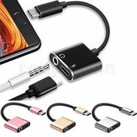 tipos de conectores jack venda por atacado-Novo 2 em 1 Carregador de Áudio Tipo C Fone de Ouvido Fone de Ouvido Jack Conector do Cabo de 3.5mm Aux Headphone Jack Adaptador De Áudio